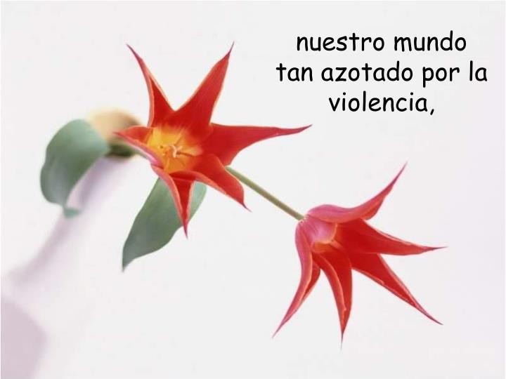 nuestro mundo tan azotado por la violencia,
