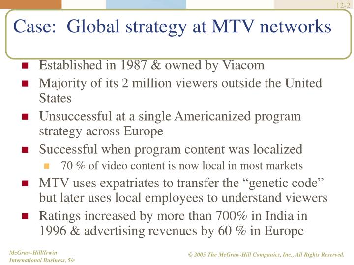 Case global strategy at mtv networks