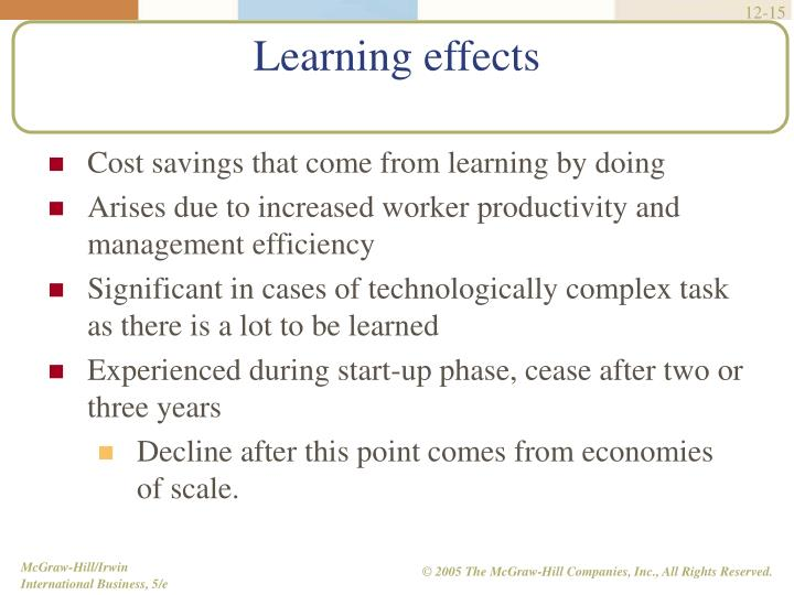 Cost savings that come from learning by doing