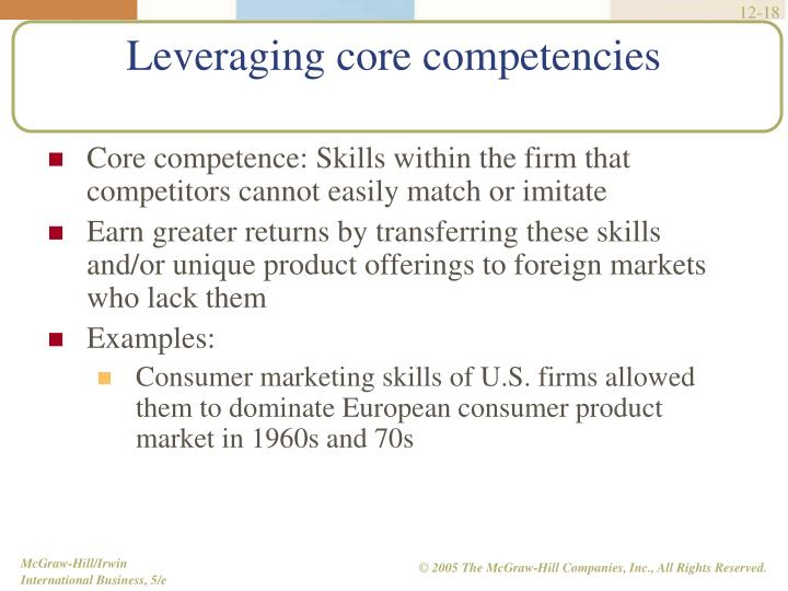 Core competence: Skills within the firm that competitors cannot easily match or imitate