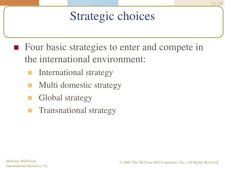 Four basic strategies to enter and compete in the international environment:
