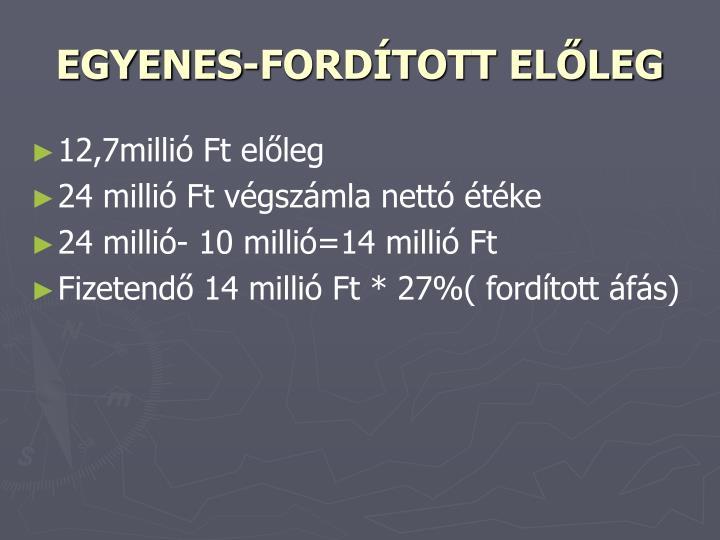 EGYENES-FORDÍTOTT ELŐLEG
