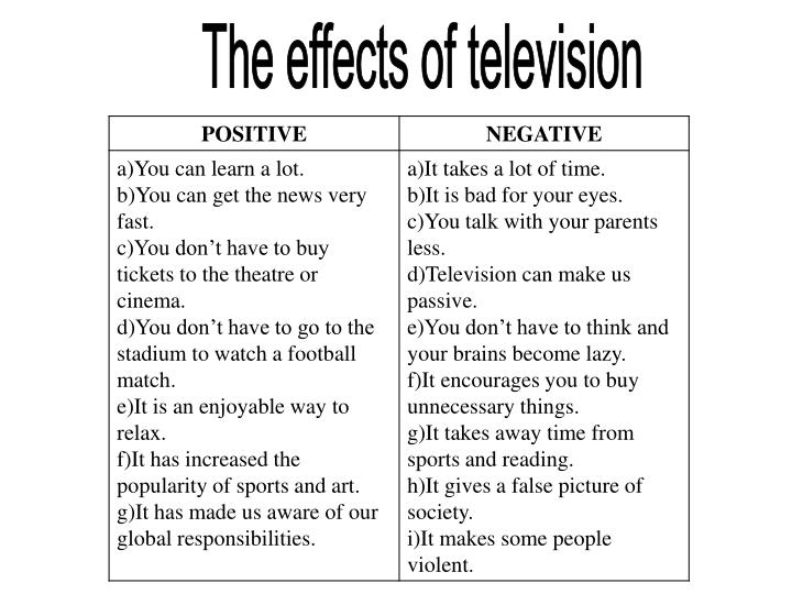 negative effects of television Sex, crime, and violence are frequently depicted on television and may have negative effects on impressionable children (and adults) kids who see violent acts are more likely to display aggressive or violent behavior and also to believe that the world is a scary place and that something bad is going happen to them.