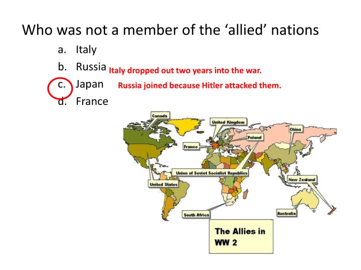 Who was not a member of the 'allied' nations