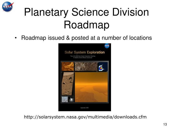 Planetary Science Division Roadmap