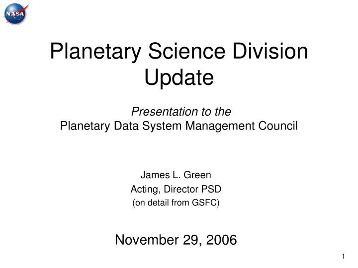 Planetary science division update presentation to the planetary data system management council