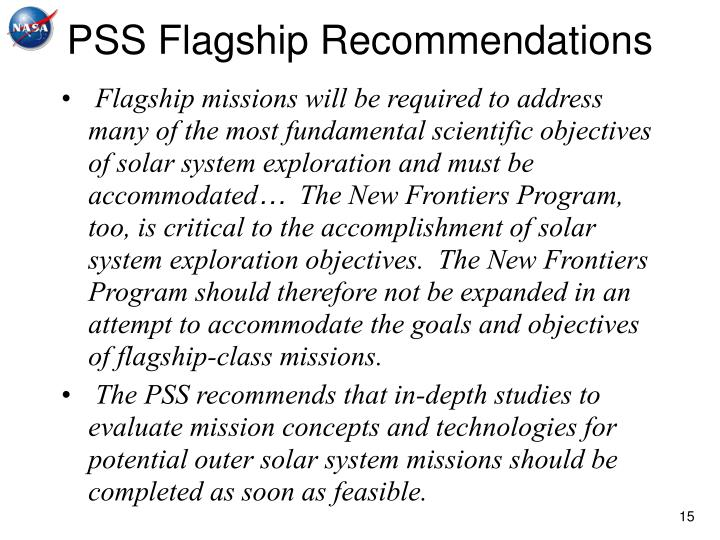 PSS Flagship Recommendations