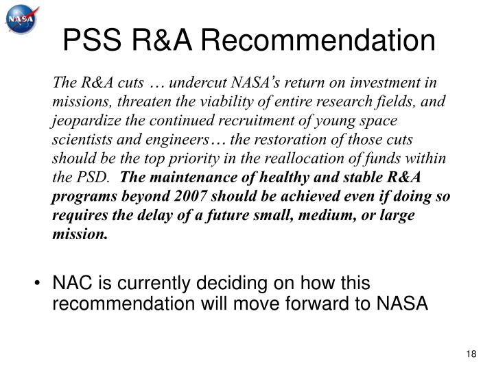 PSS R&A Recommendation