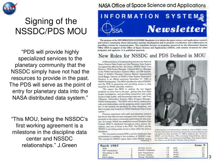 Signing of the nssdc pds mou