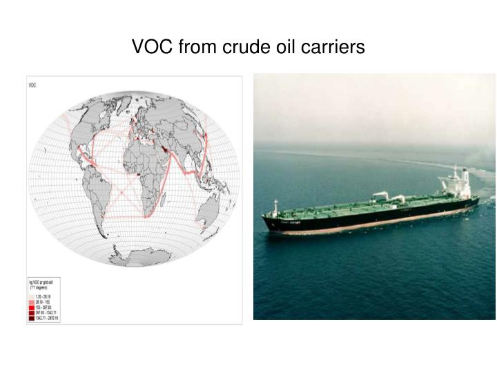Voc from crude oil carriers