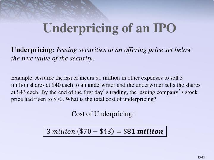 Underpricing of an IPO