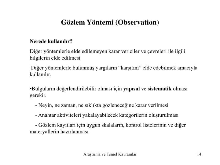 Gözlem Yöntemi (Observation)