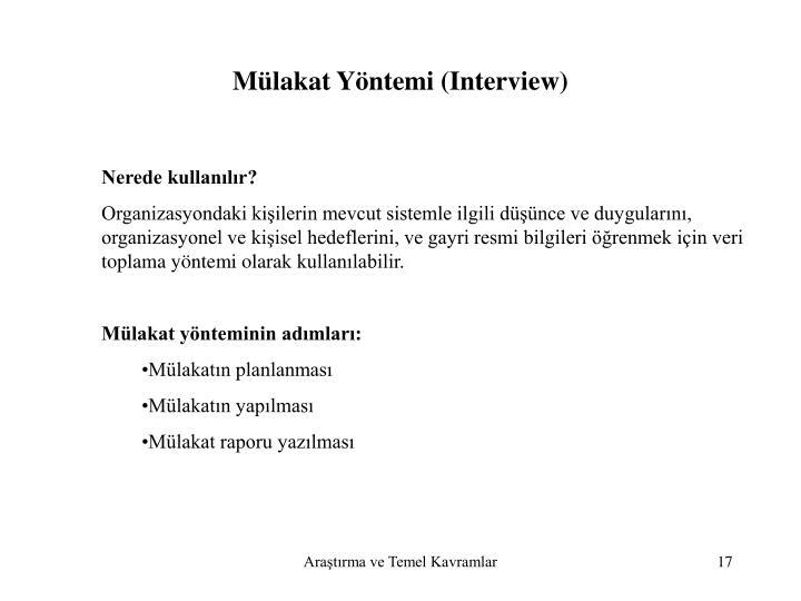 Mülakat Yöntemi (Interview)