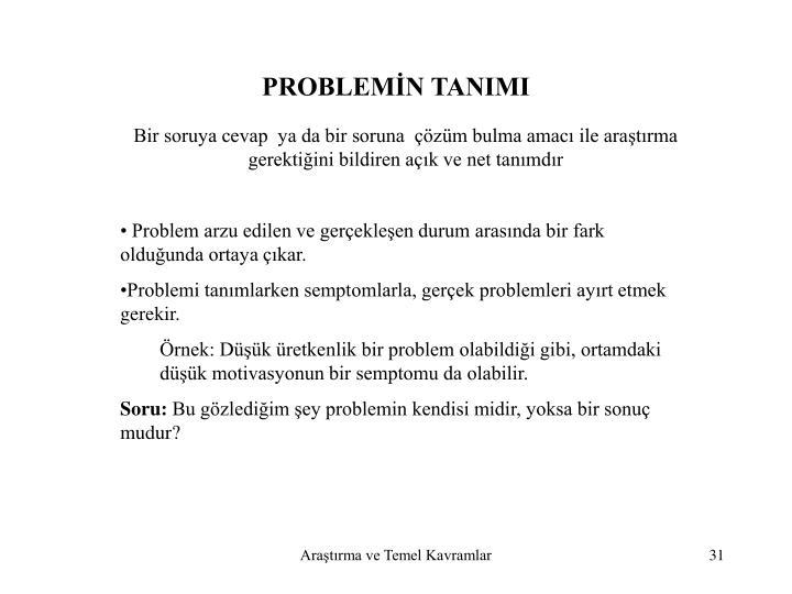 PROBLEMİN TANIMI