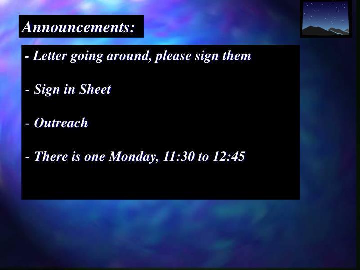 Announcements:
