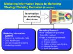 marketing information inputs to marketing strategy planning decisions exhibit 8 11