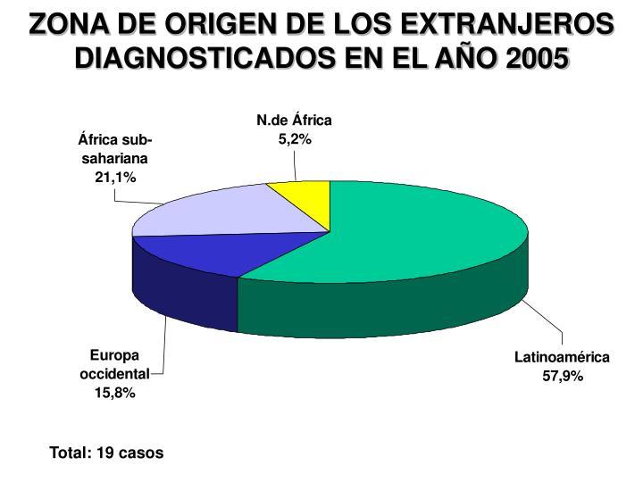 ZONA DE ORIGEN DE LOS EXTRANJEROS DIAGNOSTICADOS EN EL AÑO 2005