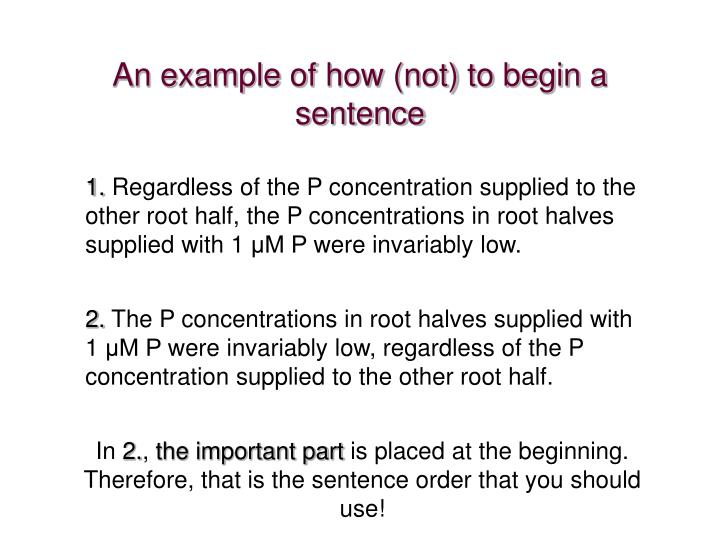 An example of how (not) to begin a sentence