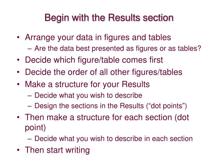 Begin with the Results section