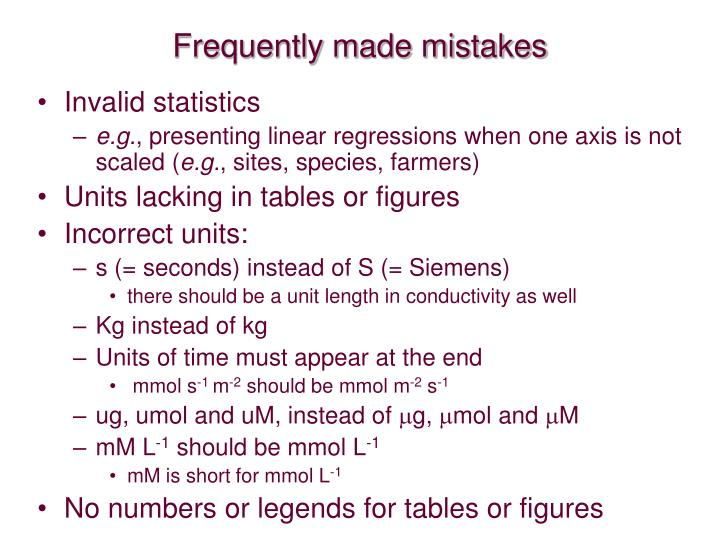 Frequently made mistakes