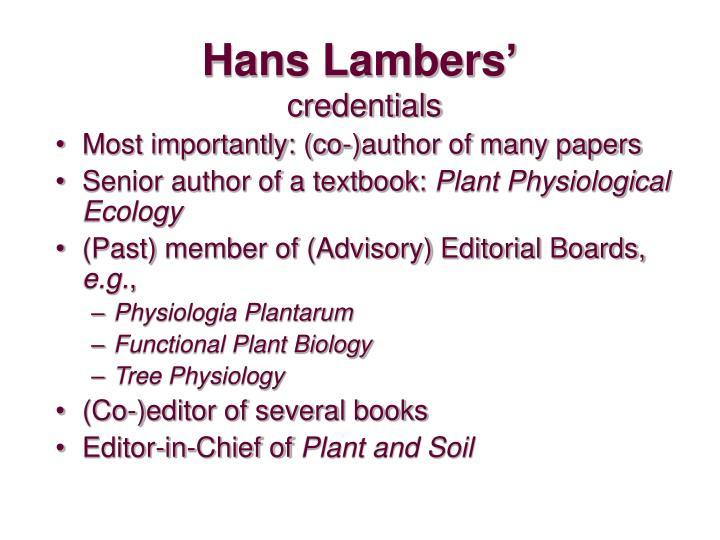 Hans lambers credentials