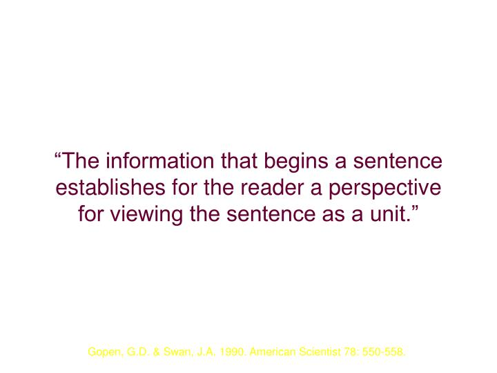 """""""The information that begins a sentence establishes for the reader a perspective for viewing the sentence as a unit."""""""