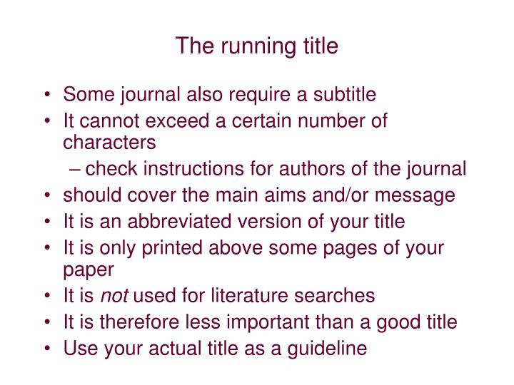 The running title