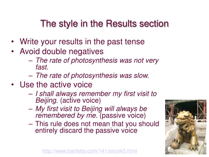 The style in the Results section