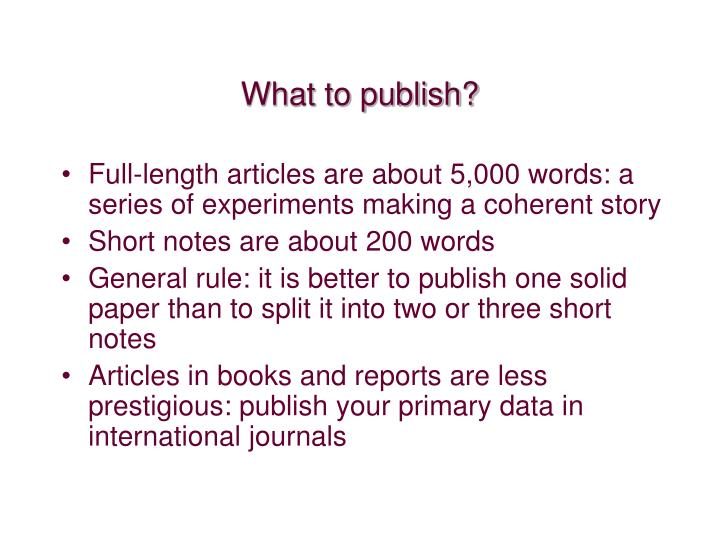 What to publish