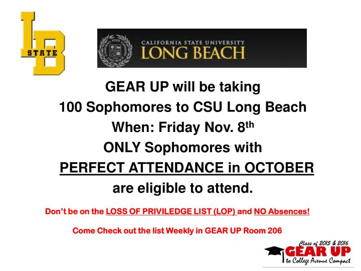 GEAR UP will be taking