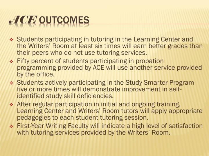 Students participating in tutoring in the Learning Center and the Writers' Room at least six times will earn better grades than their peers who do not use tutoring services.