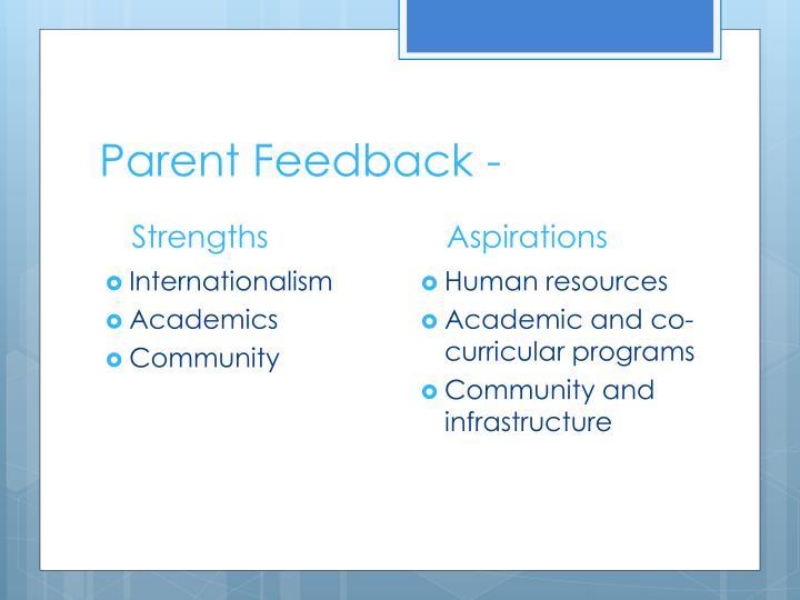 Parent Feedback -