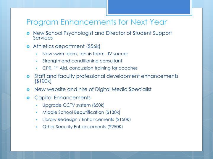Program Enhancements for Next Year