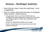 devices multilayer switches