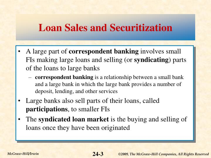 Loan sales and securitization1