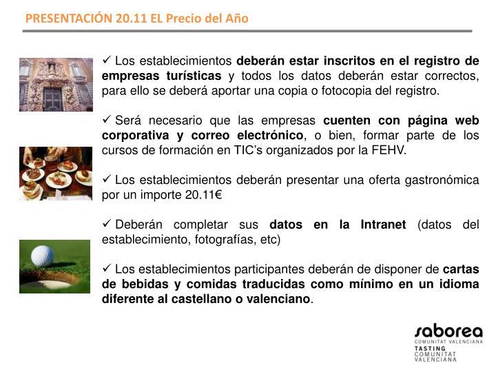 PRESENTACIÓN 20.11 EL Precio del Año