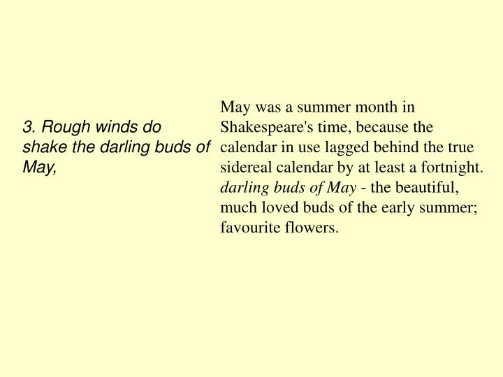 3. Rough winds do shake the darling buds of May,