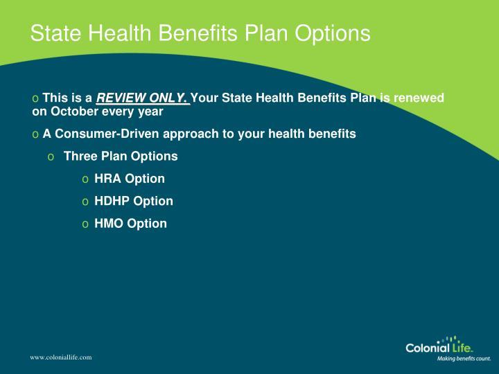 State Health Benefits Plan Options