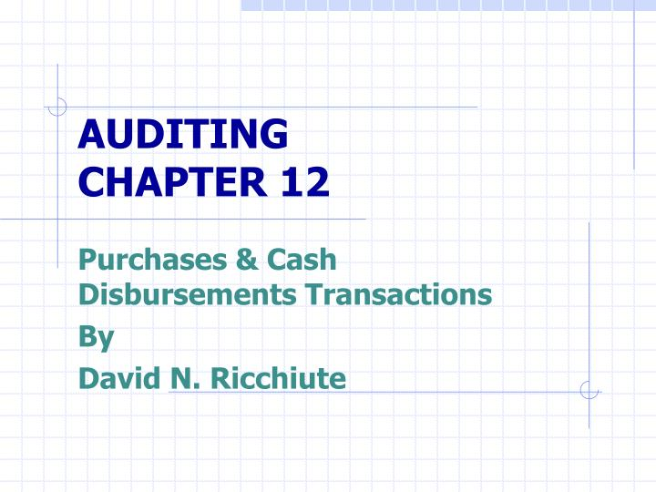 auditing chapter 12 n.