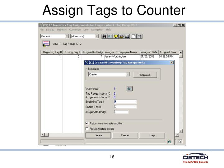 Assign Tags to Counter
