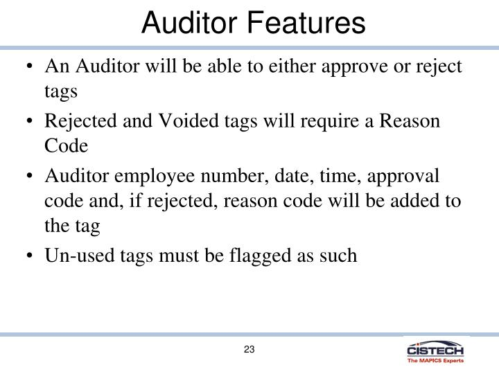Auditor Features