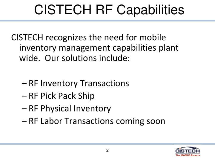 Cistech rf capabilities