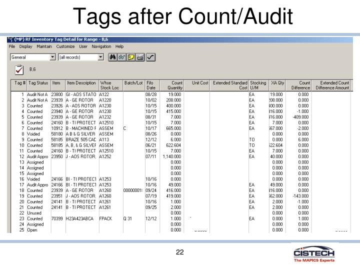 Tags after Count/Audit