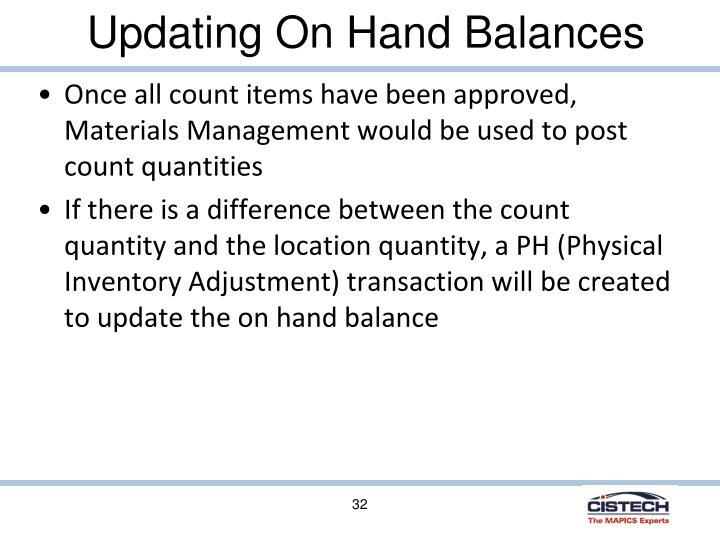 Updating On Hand Balances