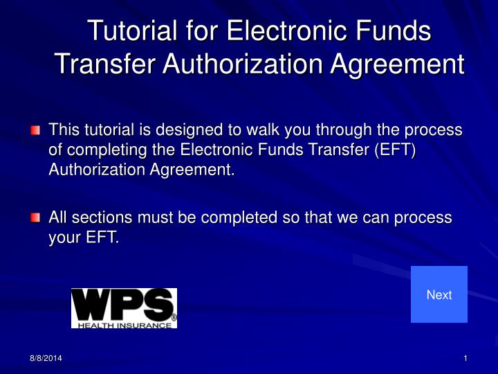 Ppt Tutorial For Electronic Funds Transfer Authorization Agreement