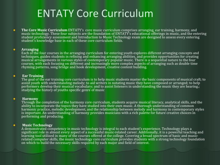 ENTATY Core Curriculum