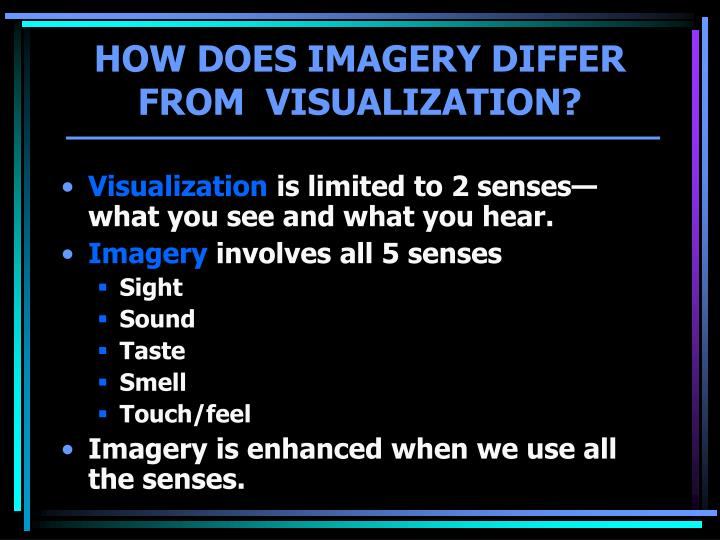 How does imagery differ from visualization