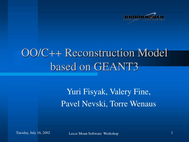 oo c reconstruction model based on geant3 n.
