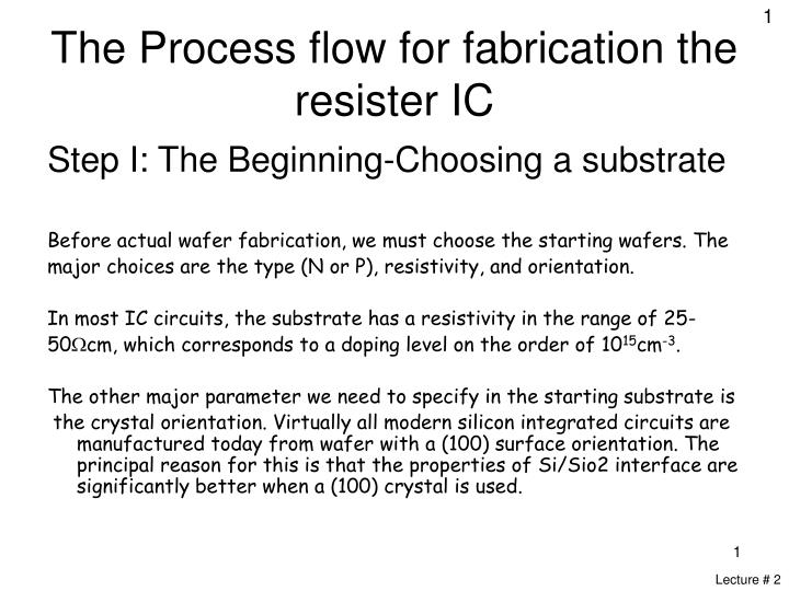 the process flow for fabrication the resister ic n.