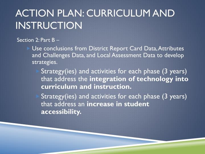 Action Plan: Curriculum and Instruction